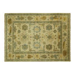Manhattan Rugs - New Ivory Geometric Oushak Hand Knotted Wool 10'x14' Turkish Oriental Rug H5585 - Oushak rugs originated in the small town of Oushak in west central Anatolia, roughly 100 miles south of the city of Istanbul in Turkey. Oushak has produced some of the most decorative Persian influenced rugs of all times. Oushak has been a production center of Turkish rugs since the 15th century. In the late 15th century the 'design revolution' took place. Before, producing carpets was part of the nomad culture, meeting people's daily needs, but for the first time the works of designing and weaving rugs were split in two. These Turkish rugs began to be produced commercially. From the 16th up to the 18th century the most famous manufacturers of ottoman times worked in Oushak. A special heirloom wash produces the subtle color variations that give rugs their distinctive antique look.