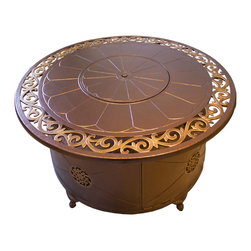 AZ Patio Heaters - Round Fire Pit in Bronze with Lid - Cast Aluminum - Decorative Scroll Design With Gold Accents, Hammered Bronze Finish.