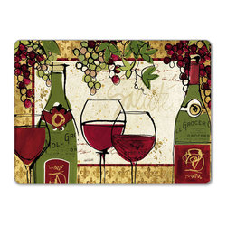 """4 Hardboard, Corkback, Placemats Wine/Grape - Wine Not - Wine/Grape - Wine Not Cork-back, Non-skid, Hardboard 15.75"""" x 11.5"""" Table Mat/Placemats are produced using layered construction for years of carefree use. This beautiful designer art product is special ordered  for you from the manufacturer. It is not returnable and may take a little longer to receive."""