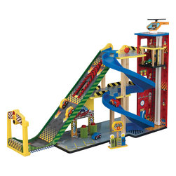 "KidKraft - Kidkraft Kids Home Indoor Pretend Play Imaginative Toy Mega Ramp Racing Set - Our Mega Ramp Racing Set gives young kids an awesome one-stop shop for all of their favorite toy cars. It's a speedy ramp, a parking garage, an elevator, a car wash and a gas station all in one convenient package. The centerpiece of this jumbo-sized racing set is its three-level ""Mega Ramp,"" which launches cars high in the air after they build up momentum. There's even a launch pad that kids lower to let the cars go, guaranteeing that they take off at the same time. Age Range: 3 Plus. Dimension: 34.49""Lx 14.57""Wx 22.36""H"
