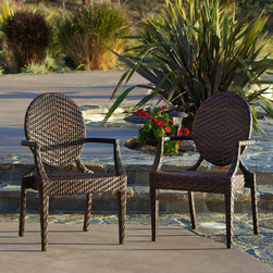 Christopher Knight Home - Christopher Knight Home Adriana PE Wicker Outdoor Chairs (Set of 2) - This set of two brown faux-wicker arm patio chairs is a perfect accompaniment to your outdoor furniture collection,due to its weather-resistant nature. Use them as your day-to-day outdoor seating or store them away until your next large get-together.