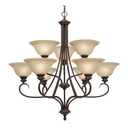 Golden Lighting - RBZ 9 9 Light Two Tier Up Light ChandelierLancaster Collection - Golden Lighting's Lancaster Collection features a transitional style of decorative lighting that is perfect for traditional to soft modern settings.