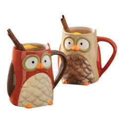 Tag - Owl Mugs - Set of 4 by Tag - Our sculpted ceramic owl mugs in two colors. Hand-painted, embossed details. Fill it with everything from hot apple cider to gourmet coffee. Each holds a generous 16 ounces.