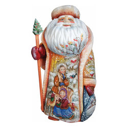 """Artistic Wood Carved Santa Claus Winter Friendship Sculpture - Measures 12""""H x 5.25""""L x 4.75""""W and weighs 4 lbs. G. DeBrekht fine art traditional, vintage style sculpted figures are delightful and imaginative. Each figurine is artistically hand painted with detailed scenes including classic Christmas art, winter wonderlands and the true meaning of Christmas, nativity art. In the spirit of giving G. DeBrekht holiday decor makes beautiful collectible Christmas and holiday gifts to share with loved ones. Every G. DeBrekht holiday decoration is an original work of art sure to be cherished as a family tradition and treasured by future generations. Some items may have slight variations of the decoration on the decor due to the hand painted nature of the product. Decorating your home for Christmas is a special time for families. With G. DeBrekht holiday home decor and decorations you can choose your style and create a true holiday gallery of art for your family to enjoy. All Masterpiece and Signature Masterpiece woodcarvings are individually hand numbered. The old world classic art details on the freehand painted sculptures include animals, nature, winter scenes, Santa Claus, nativity and more inspired by an old Russian art technique using painting mediums of watercolor, acrylic and oil combinations in the G. Debrekht unique painting style. Linden wood, which is light in color is used to carve these masterpieces. The wood varies slightly in color."""