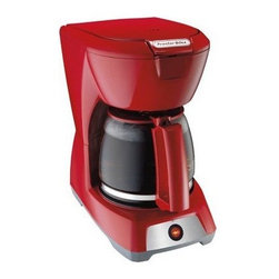 """Hamilton Beach - Proctor-Silex 12 Cup Coffeemaker Red - From proctor-silex this coffeemaker features auto pause and serve easy-view water window and lighted """"On"""" switch. Carafe and basket are dishwasher safe. Uses 8-12 cup basket style coffee filters."""