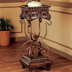 Coaster - Dark Oak Traditional Plant Stand - Large plant stand in a dark oak and gold finish.