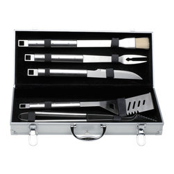 Berghoff - Berghoff Cubo 6pc BBQ Set in Case - Set includes: small brush, barbecue knife, stotted turner, meat fork, tongs and aluminium carrying case. mattee finish with a hollow handle made of stainless steel