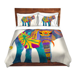 DiaNoche Designs - Duvet Cover Twill - Whimsical Elephant I - Lightweight and super soft brushed twill Duvet Cover sizes Twin, Queen, King.  This duvet is designed to wash upon arrival for maximum softness.   Each duvet starts by looming the fabric and cutting to the size ordered.  The Image is printed and your Duvet Cover is meticulously sewn together with ties in each corner and a concealed zip closure.  All in the USA!!  Poly top with a Cotton Poly underside.  Dye Sublimation printing permanently adheres the ink to the material for long life and durability. Printed top, cream colored bottom, Machine Washable, Product may vary slightly from image.
