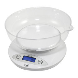 """American Weigh Scales - Bowl Kitchen Scale White - Bowl kitchen scale; round plastic removable bowl for weighing loose ingredients or liquids included; bowl dishwasher safe; 11 lb. capacity; .1oz graduation; blue back-lit LCD display (.5""""x1.4""""); bowl size 7.75"""" x 7.75""""; 2-AA batteries included; white color."""