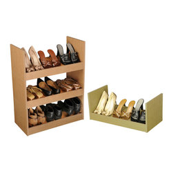 Venture Horizon - Stackable Shoe Racks - Oak - An Inexpensive Alternative...Build An Entire Wall. If budget is the word but you still have a ton of shoes than our inexpensive Stackable Shoe Racks are the way to go. You can stack them as high and as wide as you want. Build an entire wall and store 100's of pairs of shoes. Not only are they a practical alternative to more elaborate and expensive shoe cabinets they are also convenient. They are portable and you can take them with you anywhere. Fits into any closet, or works as a stand alone in any room in the house. Sturdily constructed from melamine laminated particle board. Available in all white or natural oak. Measures 10in. high, 24in. wide, and 12in. deep. Easy assembly required. Made in the USA.