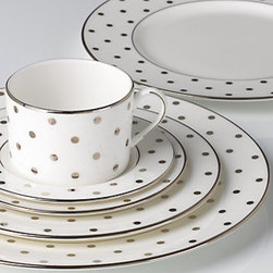 Larabee Road Platinum 5-piece Place Setting - These polka dot place settings are pretty but not pretentious. I'd be happy to start a collection.