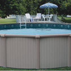 Above Ground Swimming Pool - This top of the line pool features extra-heavy gauge extruded aluminum for unsurpassed strength and durability. Bermuda has taken quality pool construction to the next level with the all aluminum components. Because of its extra-heavy gauge aluminum parts and interlocking walls it is over 50% stronger than conventional steel above ground pools. In addition to the super strength of its aluminum parts, Bermuda is finished with excellent craftsmanship resulting in a pool that is as beautiful to look at as it is super strong. The fit and finish on this pool are unmatched by any other.