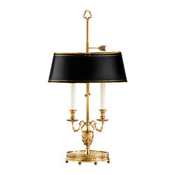 "Inviting Home - Black Shade Table Lamp with Urn Motif - Two-light antiqued solid brass lamp with adjustable oval black-finished brass shade with hand-painted gold border; 14-1/2"" x 8"" x 27-3/4""H; Two-light solid brass table lamp with urn motif. Table lamp has an adjustable oval black finished brass shade and antique finish; max.60 watts each bulb."