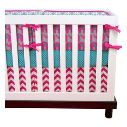"Modified Tot - Baby Bedding Crib Set, Pink Ele - Hot pink elephants on gray, accented with a bold turquoise create a fun nursery for your little girl. The three piece set includes bumpers with hand-stitched fabric ties and contrasting piping, a fitted sheet with elastic all the way around and a four-sided skirt with a 15"" drop. Bumpers are created in six separate pieces for easy transition to a toddler bed, they measure 1"" thick and 10"" high. All items are proudly made in the USA. All products are made to order."