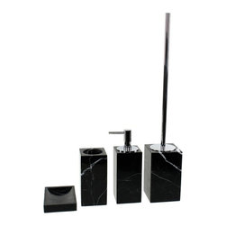 Gedy - Black Marble Bathroom Accessory Set in 4 pieces, - Luxurious black marble bathroom accessory set perfect for a modern bathroom. Designed in Italy from the Gedy Posseidon collection. Set includes toothbrush holder, soap dish, soap dispenser, and toiletbrush holder. Available in black finish. Made from marble. From the Gedy Posseidon collection. Designed and built in Italy. Included in set:. Soap dish Gedy AN11-14. Toothbrush holder Gedy AN98-14. Toiletbrush holder Gedy AN33-14. Soap dispenser Gedy AN81-14.