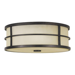 Murray Feiss - Murray Feiss Fusion Flush Mount Ceiling Fixture in Grecian Bronze - Shown in picture: Fusion Flushmount in Grecian Bronze finish with Amber Ribbed