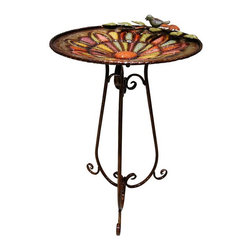 Alpine Fountains - Metal Colorful Birdbath w Bird and Leaves - Made of Metal. 1 Year Limited Warranty. Assembly Required. Overall Dimensions: 19 in. L x 19 in. W x 30 in. H (8.8 lbs)Keep your bird friends clean and your garden looking great with this bird bath. This birdbath features an elegant multicolored metal look that will look great in any environment, with its decorative pedestal and decorative basin.