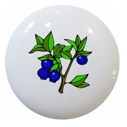 Blueberries Blueberry White Ceramic Series, Knob - New 1 1/2 inch ceramic cabinet, drawer, or furniture knob with mounting hardware included. Also works great in a bathroom or on bi-fold closet doors (may require longer screws). Item can be wiped clean with a soft damp cloth. Great addition and nice finishing touch to any room!