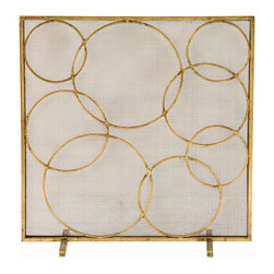 Arteriors - Glen Screen - Interlocking circles create this freeform pattern that is both elegant and light hearted. The gold leaf finish is antiqued.