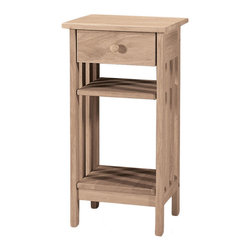 None - Unfinished Solid Parawood Mission Telephone Stand - One drawer and two shelves provide plentiful storage space on this Mission-style telephone stand. Designed with unfinished parawood,this environmentally friendly stand will add bold style to any room in your home.