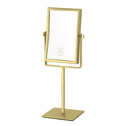 Nameek's - Double Face Chrome Magnifying Mirror, Gold - This double face makeup mirror has a 3x magnification and comes in a chrome finish.