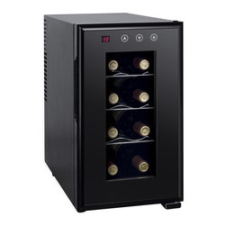 SPT Appliance - 8-bottle Thermo-Electric Slim Wine Cooler wit - ThermoElectric cooling system. 8 standard bottles / 23L capacity. Digital controls with LED temperature display. Environment friendly (refrigerant free). Quiet operation . No vibration (bottle sediment is not disturbed). 3 slide-out shelves. Double pane insulated glass door. Soft interior light. Front leveling leg. Adjustable temperature range: 45 ~ 64 degreesF. Freestanding application. ETL certified . Made in China. No assembly required. 20.5 in. L X 10 in. W X 17.7 in. H (21 lbs.)Equipped with newest ThermoElectric heating technology, should the ambient temperature fall below set temperature, unit will heat to maintain your set temperature. Fits up to 8 standard bottles and only 10 inches wide, this slim design is perfect for those wine lovers with a limited space. Double pane insulated glass door. Simple to use digital controls with LED display. ThermoElectric Technology (no compressor) offers a quiet operation with no vibration. Adjustable temperature between 45 to 64 degrees F.