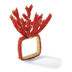 Frontgate - Kim Seybert Orange Bead Napkin Ring - Mix multiple sizes for a themed look. Coral color perfect for beach house decor or a nautically themed room. Candles included with votive and hurricane. Coordinates with our entire Kim Seybert Collection. Delicate gold beads accent the coral accessories in the Kim Seybert Coral Beaded Collection. The glow of candlelight through the crystal clear glass will shine even brighter when surrounded by its very own coral reef. The stems of coral are accented with delicate gold beads for subtle shimmer. . . . . Imported.