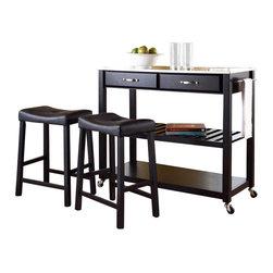 Crosley Furniture - Crosley Stainless Steel Top Kitchen Cart/Island with Stools in Black - Crosley Furniture - Kitchen Carts - KF300524BK