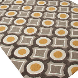 Jaipur Rugs - Hand-Tufted Geometric Pattern Polyester Gray/Yellow Area Rug - A youthful spirit enlivens Esprit, a collection of contemporary rugs with joie de vivre! Punctuated by bold color and large-scale designs, this playful range packs a powerful design punch at a reasonable price.  Origin: China
