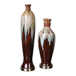 Uttermost - Uttermost 19844  Aegis Ceramic Vases S/2 - Textured ceramic finished in rustic brown, smoke blue, aged white and black glazes accented by a dark bronze foot and rattan details. sizes: sm-7x19x7, lg-6x27x6