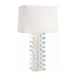 Arteriors - Tower Lamp - Thick acrylic squares are stacked with smaller acrylic squares acting as spacers. This glamorous column they create is topped with a rectangular silk shade that has wide self fold trim top and bottom adding to the dimensional aspect.