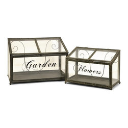 iMax - iMax Tavaris Metal Greenhouse Set of 2 - Set of two metal and glass greenhouses in graduating sizes exclusive to IMAX.