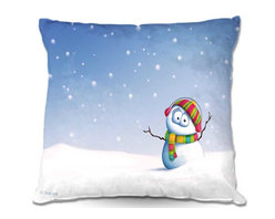 DiaNoche Designs - Pillow Woven Poplin by Toosh Toosh Snowman - Toss this decorative pillow on any bed, sofa or chair, and add personality to your chic and stylish decor. Lay your head against your new art and relax! Made of woven Poly-Poplin.  Includes a cushy supportive pillow insert, zipped inside. Dye Sublimation printing adheres the ink to the material for long life and durability. Double Sided Print, Machine Washable, Product may vary slightly from image.