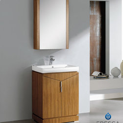 "Elissos 24 Modern Bathroom Vanity With Medicine Cabinet - The Fresca Elissos is a compact 24"" free standing vanity.  2 large doors reveal 2 spacious areas, while the matching medicine cabinet offers additional storage.  Many faucet styles to choose from.Dimensions of Vanity:  24""W x 18.5""D x 34.25""H. Dimensions of Medine Cabinet:  21.63""W x 31.5""H x 6""D. Materials:  Plywood w/ Veneer, Ceramic Countertop/Sink with Overflow. Single Hole Faucet Mount (Faucet Shown In Picture May No Longer Be Available So Please Check Compatible Faucet List). P-trap, Faucet, Pop-Up Drain and Installation Hardware Included"