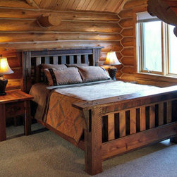 Barnwood Mission Style Bed - Crafted from 100-year-old barn wood and timbers, this handsome bed is in my dreams for my (future) ski cabin.