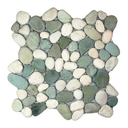 "CNK Tile - Sea Green and White Pebble Tile - Each pebble is carefully selected and hand-sorted according to color, size and shape in order to ensure the highest quality pebble tile available.  The stones are attached to a sturdy mesh backing using non-toxic, environmentally safe glue.  Because of the unique pattern in which our tile is created they fit together seamlessly when installed so you can't tell where one tile ends and the next begins!     Usage:    Shower floor, bathroom floor, general flooring, backsplashes, swimming pools, patios, fireplaces and more.  Interior & exterior. Commercial & residential.     Details:    Sheet Backing: Mesh   Sheet Dimensions: 12"" x 12""   Pebble size: Approx 3/4"" to 2 1/2""   Thickness: Approx 1/2""   Finish: Green and White Natural"