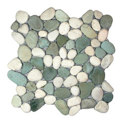 "Pebble Tile Shop - Sea Green and White Pebble Tile - Each pebble is carefully selected and hand-sorted according to color, size and shape in order to ensure the highest quality pebble tile available.  The stones are attached to a sturdy mesh backing using non-toxic, environmentally safe glue.  Because of the unique pattern in which our tile is created they fit together seamlessly when installed so you can't tell where one tile ends and the next begins!     Usage:    Shower floor, bathroom floor, general flooring, backsplashes, swimming pools, patios, fireplaces and more.  Interior & exterior. Commercial & residential.     Details:    Sheet Backing: Mesh   Sheet Dimensions: 12"" x 12""   Pebble size: Approx 3/4"" to 2 1/2""   Thickness: Approx 1/2""   Finish: Green and White Natural"