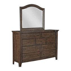 Broyhill - Broyhill Attic Retreat 9 Drawer Dresser and Mirror Set in Weathered-Mink - Broyhill - Dressers - 49902304990236Set
