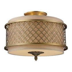 Elk Lighting - Elk Lighting 31031/3 Chester 3-Light Semi-Flush in Brushed Antique Brass - 3-Light Semi-Flush in Brushed Antique Brass belongs to Chester Collection by The Distinguished Metal Lace Pattern, Finished In Brushed Antique Brass, Is The Principle Design Feature Which Envelopes A Rich Cream Fabric Shade. A Frosted Amber Glass Diffuser Completes The Design While Masking The Direct Light For A Warm, Ambient Radiance. Flush Mount (1)