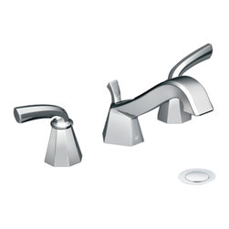 """Moen - Moen TS447 Chrome Roman Tub Trim 8""""-16"""" Two Lever Handles, ADA - The Felicity series features bold, sweeping horizontal lines and geometric forms, giving it a modern feel that enhances any refined decorating style."""
