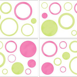 Sweet Jojo Designs - Pink Circles Wall Decal Set of 4 Sheets by Sweet Jojo Designs - The Pink Circles Wall Decal Set of 4 Sheets by Sweet Jojo Designs, along with the bedding accessories.