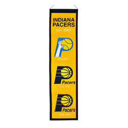 Winning Streak Pennants - Indiana Pacers NBA 8 x 32 Heritage Banner - Check out this Awesome wool Heritage banner. It features embroidery and appliqued graphics in official team colors. It's perfect for your Man Cave, Game Room, Office or anywhere else you want to show love for your team.