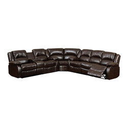 Furniture of America - Arans Sectional Sofa Upholstered in Rustic Brown Bonded Leather - Traditional style sectional sofa upholstered in brown with console in loveseat.