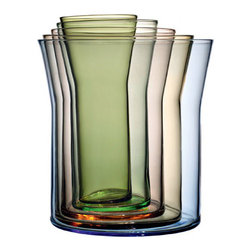 Spectra 5 Vase Set by Holmegaard - This mouth-blown colored glass vase set will not take up much space when stored, but can meet the needs of every bouquet. Of course, you can leave them stacked when filled with flowers as well.