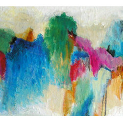 """Repeaters"" (Original) By Haydee Torres - Contemporary Acrylics Abstract Painting On A 30X15 Inches Gallery Wrap Canvas."