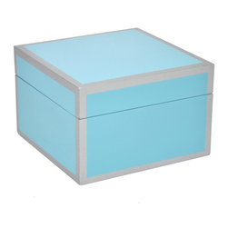 Blue Wood Box - A light blue wooden box with a silver line detail on each edge. The perfect container to store all of your little trinkets.