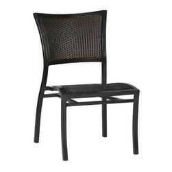 Frontgate - Aire Outdoor Side Chair with Cushion, Patio Furniture - Durable side chair frame is crafted from hand-welded aluminum. Finished in Black Walnut and Ancient Earth combination. Chair seat and back are crafted with UV-resistant high-quality resin wicker for a comfortable woven look and feel. High-quality resin wicker seat is comfortable with or without cushions. Lightweight, comfortable, and stackable. The Aire Collection by Summer Classics&reg offers lightweight elegance with a classic and casual style made for your outdoor setting. Fluid curves define each piece, from the frame of each seat back down each strong and slender leg. Side chair is furnished with a contoured seat and back that are hand woven with high-quality resin wicker that conforms to your body.Part of the Aire Collection by Summer Classics&reg . . . . . Cushion is covered in exclusive Sunbrella fabrics, the finest solution-dyed, all-weather material available. Note: Due to the custom-made nature of the cushions, any fabric changes or cancellations made to the Aire Collection must be made within 24 hours of ordering.