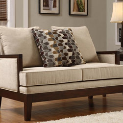 The ideal setting for living room - Loveseat - FurnitureNYC present the ideal setting for living room. Corded microfiber and contrasting fabric loose back pillows are effortlessly highlighted by the modernly angled deep cherry-finished show-wood frame.