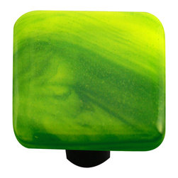 """Aquila Art Glass - Art Glass Square Swirl Knob, Black Post, Yellow Opal Deep Forest Green Swirl - To make our cabinet knobs and pulls, 2 to 5 pieces of glass are cut, cleaned, stacked together and placed into a kiln. The kiln goes up to 1450 degrees Fahrenheit, the glass becomes molten and fuses together to make one piece of glass. The glass is then cut out out to the required shape. Next the glass is placed back into a kiln and taken to 1300 degrees fahrenheit and the edges are """"fire polished"""". The glass spends about 48 hours in the kilns. Expect slight variations in color & size."""