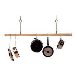 "Enclume - Premier 48 Inch Offset Hook Ceiling Pot Rack, Copper - Dimensions: 48""L x 20""H"